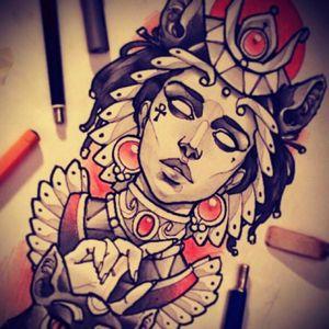 Love this style, beautiful work! #egyptiantattoo #Egypt #women #tattoodesign