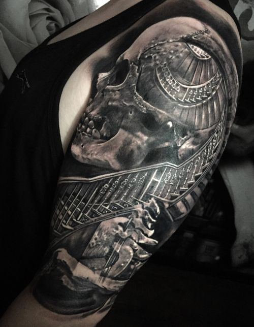 #skull #staircase morph #tattoo #tattoos #tattooartist #BishopRotary #BishopBrigade #BlackandGreytattoo #QuantumInk #ImmortalAlliance #SullenClothing #SullenArtCollective #Sullen #SullenFamily #TogetherWeRise #ArronRaw #RawTattoo #TattooLand #InkedMag #Inksav#BlackandGraytattoo #tattoodoapp #tattoodo