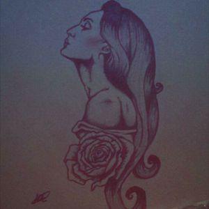 My first tattoo design #shading #woman #sidetattoo #rose #flower #feminine #likeforlike #design #drawing #pose #hair #shouldertattoo #natural #sleeve