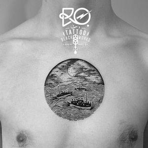 By RO. Robert Pavez • Shipwrecked I • #engraving #dotwork #etching #dot #linework #geometric #ro #blackwork #blackworktattoo #blackandgrey #black #tattoo #shipwrecked