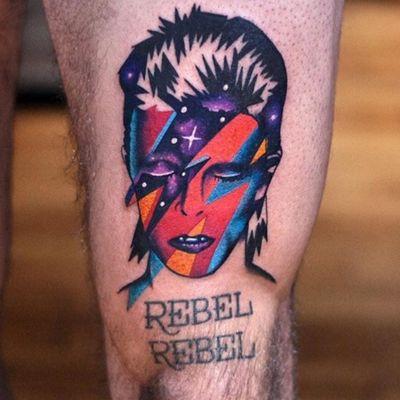 #rebelrebel #davidbowie #ziggystardust #color #stars #thedavidcote @thedavidcote #portrait