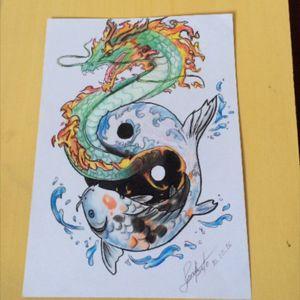 Carpa e Dragrão #YinYang #carpa #dragão