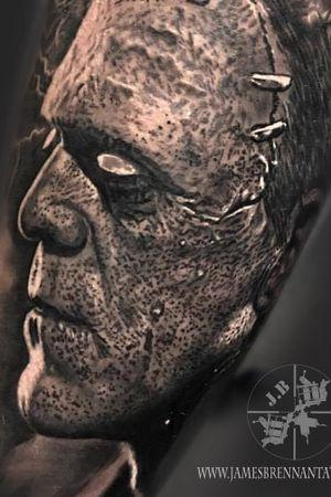 Frankinstiens monster black and grey portrait #jamesbrennan