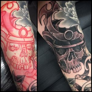 Freehand samurai skull! #samurai #blackandgreytattoo #skull #fudoshintattoos @fudoshintattoos