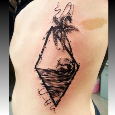 #waves #ocean #sea #palmtreetattoo #palmtree #palm #black #ribs by #tattooartist #SmelWink @smelwink from #victimsofink #melborne #australia