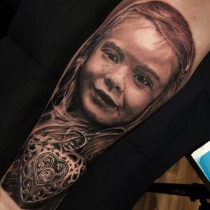 Personal black and grey portrait with a locket #jamesbrennan