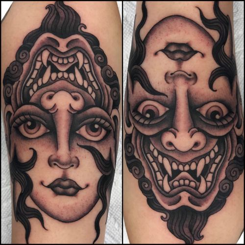 Black and grey twoface.   By @shauntopper #tattoooftheday #blackandgrey