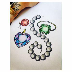 Jewelry 💎 #girl #jewelry #girly #draw #drawbyme #color #diamondtattoo #jeweltattoo #tattoodesign