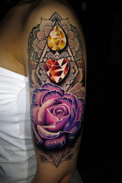 One of my favourites from 2016! Love this one! #thescientist #travellingtattooist #ornamentaltattoo #jeweltattoo #gemtattoo #rose #jewel #ornamental #ornate #blackwork #dotwork #realism #hennism #floraltattoo #tattoodo #tattoodoapp #tattoo #ink #inkedgirls #tattooedgirls #tattoooftheday #amazingtattoos #tatouage #tatuaje #tatuagem #ryansmithtattooist #tattooartist