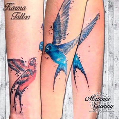 Watercolor swallow tattoo, tatuaje de golondrinas en acuarela #tattoo #tatuaje #tattooed #tatuadora #marianagroning #cdmx #mexico #mexicocity #karmatattoomx #madeinmexico #tatuagem #acuarela #watercolor #watercolortattoo #swallow #golondrina