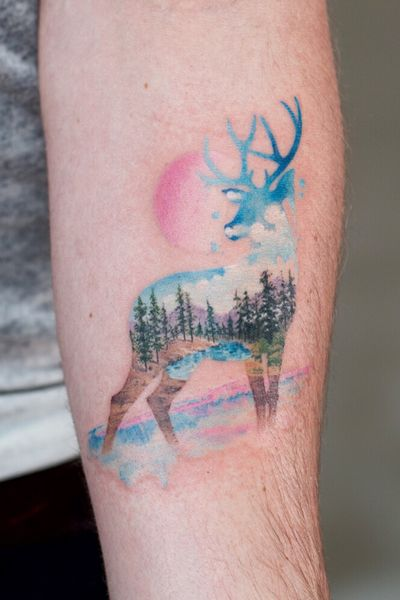 stag watercolor tattoo :)
