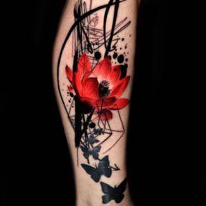 #butterfly #butterflies #lotus #lotusflower #flower #red #redflower #black #abstract - by #tattooartist #MarcoPiras