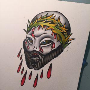 Jesus wasnt a hippie; he was an alien. #tattooapprentice #tattooflash #traditionaltattoo #anthonylowtattoos