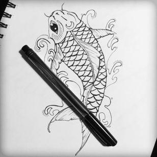 Sharpie #sketch #koi #tattoooitline #linework #tattoo #design #koifish #outline