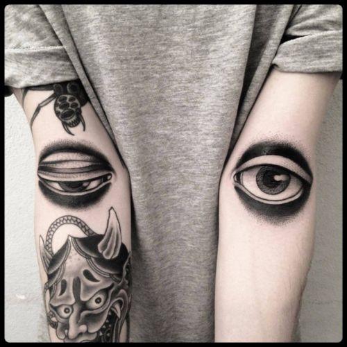 #black #eyes #elbowditch #tattoo #blackwork #totemica #ontheroad