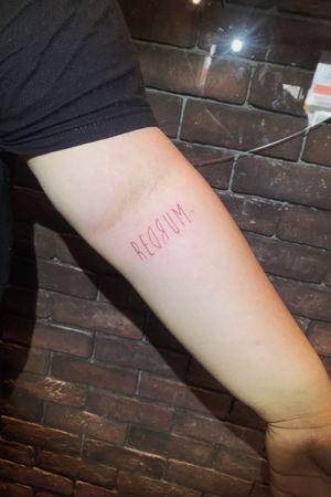 Redrum 'Murder' #lettering #letteringtattoo #fineline #thinline #murder #redrum #writing