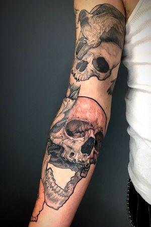Skulls, roses and pigeons