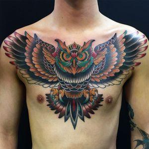 #owl #owltattoo #chesttattoo #oldschool #traditional #Tattoodo #japanesetattooartist #yokohama #trad #AmericanTraditional