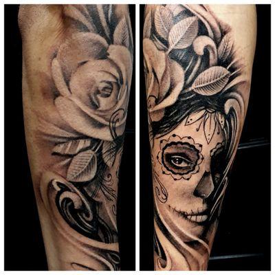 Sugar skull portrait #customink #tattoo #tattooist #tattooartist #sugarskull #blackandgreytattoo #blackandgrey #roses #cambridge