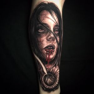 Zombie girl tattoo by Jeremiah Barba