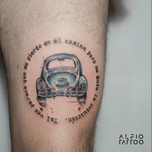 Design by Alfio tattoo!!! #car #Eescarabajo #Sketh#design #designtattoo #dinamicink #watercolor #watercolortattoo #santelmo #buenosaires #argentina