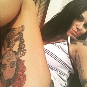 Thigh tattoo #thightattoo #adamsfamily #wednesdaytattoo #tattoos #blackandredtattoo