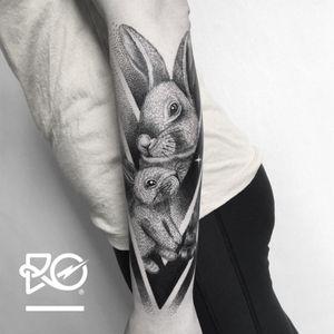 By RO. Robert Pavez • My Eternal Sweetness • Studio Nice Tattoo • Stockholm - Sweden 2017 • #engraving #dotwork #etching #dot #linework #geometric #ro #blackwork #blackworktattoo #blackandgrey #black #tattoo #rabbit #rabbittattoo #fineline