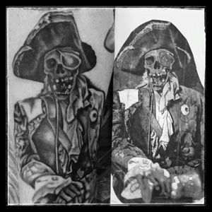 #thegoonies #oneeyedwilly #piratetattoo #goonies #gooniesneversaydie #legsleeve #blackandgreytattoo