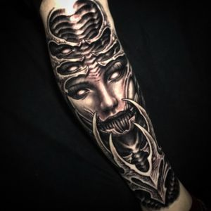 Some surrealism womans face with biomech. Done by @Jeremiah_Barba out of Southern CA. US.