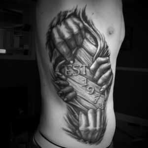 Rt side of ribs. Black and gray. Artist: Liorcifer NYC. #dreamtattoo