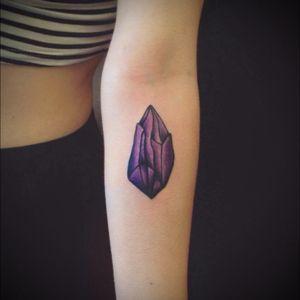 Crystal tattoo! #crystal #crystaltattoo #apprentice #apprenticetattoo #gem #crystals #purplecrystal #gems #apprenticework #diamond #purple #halifax #novascotia #arm #armtattoos