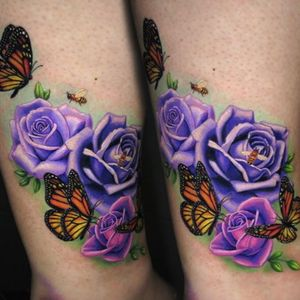 #JamieSchene #colorrealismtattoo #colorrealism #Union3Tattoo #fusionink #roses #butterfly