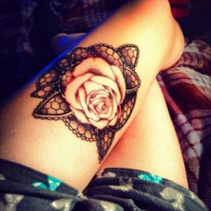 Lace rose tattoo #rose #lace