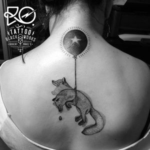 By RO. Robert Pavez • Lost Fox • #engraving #dotwork #etching #dot #linework #geometric #ro #blackwork #blackworktatto