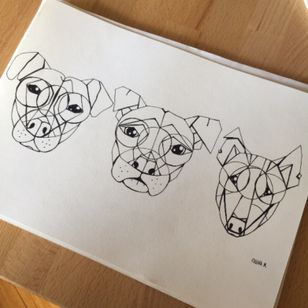 Just a little #stylized #line #drawing of my #staffy #pitbull and #bullterrier #tattooidea #geo #dogs #puppytattoo #geometric #linework #outline #stencil