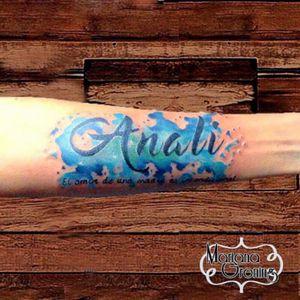 Watercolor name tattoo  #tattoo #marianagroning #karmatattoo #cdmx #MexicoCity #watercolor #watercolortattoo #watercolortattooartist