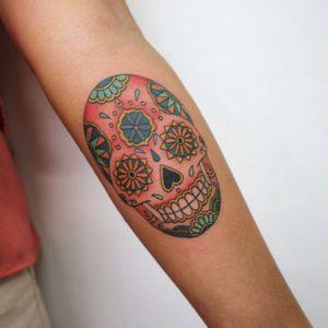 Classic mexican #sugarskull #skulltattoo #skull #skullcandywoman #skullcandy #color #girlytattoo #girlytats