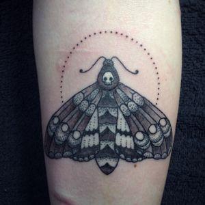 Dotwork and grey shade death head moth. By me, Rebekka Rekkless. #mothtattoo #moth #dotwork #dotworktattoo #tattooapprentice #rebekkarekkless