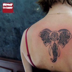 #mandala #elephant #fineline #filigree #girl #mommyimsorry #blackwork