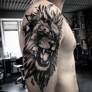 Artist #Szejno#lion #roar #blackwork #animal