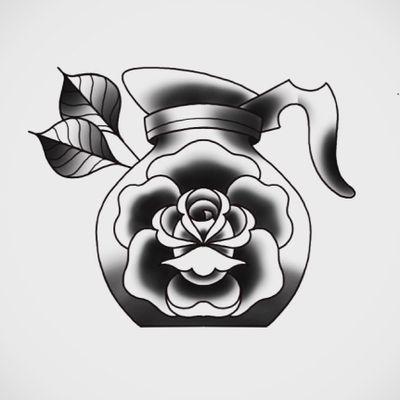 ☕️☕️☕️ #coffee #rose #art #tattoo #digitalart #ipadpro #coffeetattoo