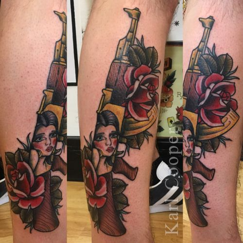 By Karl Cooper #oldschool #traditional #neotraditional #AK47 #tattoooftheday