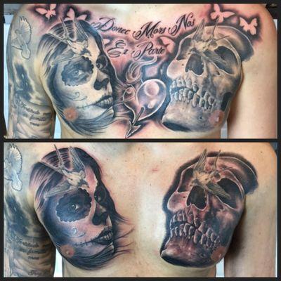 Chest piece half way and finished 😎👍🏻 #chestpiece #dayofthedead #dayofthedeadgirl #skull #skulltattoo #blackandgreytattoos #portrait