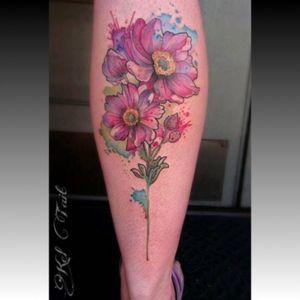 #keltaittattoo #KelTait @kel.tait.tattoo #anemones #flowers #floral #watercolor #calf