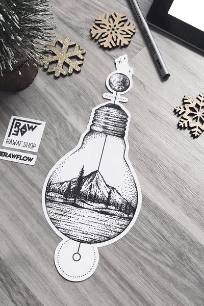 """""""Discovery"""" - PDF available on www.rawaf.shop #lightbulb #moutain #forest #dotwork #nature #travel #wanderlust #moon #astronomy #space #blackwork #black"""