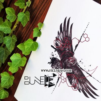 For downloads and commission visit Www.skinque.com Realistic raven with geometric and trash polka elements #realistictattoo #realistic #realism #raven #raventattoo #realismtattoo #animal #animaltattoo #geometric #geometry #geometrictattoo #trashpolka #trashpolkatattoo #trash #bird