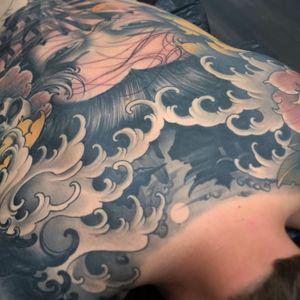 Backpiece in progress #waves #fingerwaves #temple #skull #peony #peonies #peonytattoo  #pagoda #japanese #neojapanese #irezumi