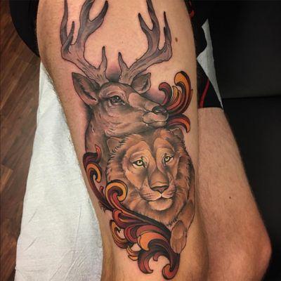#neotraditional #stag #lion #liontattoo #animaltattoo