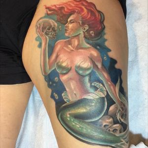 Siren by Mike Carro at Undeak Ink NY #MermaidTattoos #UndeadInkNY #MikeCarro