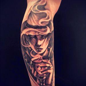 Witch 🌙🔮 #witch #witchtattoo #TattooGirl #tattoobabe #mystic #Tattoodo #blackwork